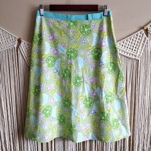 Lilly Pulitzer Citrus Floral Green A-Line Skirt 8